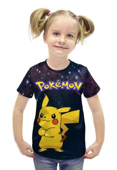 """Футболка с полной запечаткой для девочек """"Покемон Пикачу"""" - pokemon, покемон, пикачу, pikachu"""