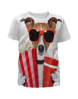 """Футболка с полной запечаткой для девочек """"Песик"""" - очки, собака, собачка, 3д, попкорн"""