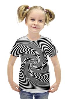 """Футболка с полной запечаткой для девочек """"Иллюзия"""" - прикол, спираль, чб, иллюзия"""