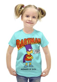 """Футболка с полной запечаткой для девочек """"Бартмен"""" - прикольные, супергерои, симпсоны, барт симпсон, бартмен"""