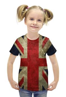 """Футболка с полной запечаткой для девочек """"Британский Флаг"""" - англия, флаг, великобритания, great britain"""