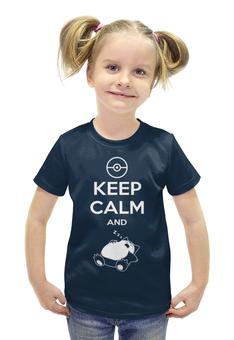 """Футболка с полной запечаткой для девочек """"Keep Calm"""" - надпись, рисунок"""