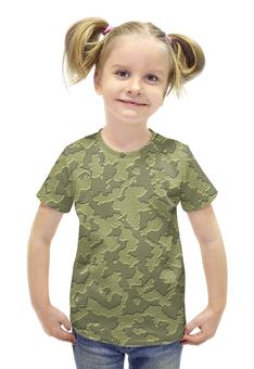"""Футболка с полной запечаткой для девочек """"Серо-Коричневый Камуфляж"""" - армия, камуфляж, camouflage, военный, серо коричневый камуфляж"""