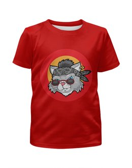 """Футболка с полной запечаткой для девочек """"Кот в бандане"""" - кот, бабочки, юмор, мультяшка, бандана"""