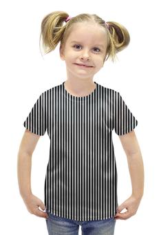 """Футболка с полной запечаткой для девочек """"Вертикальная полоска"""" - полоска, белый, чёрный, иллюзия"""