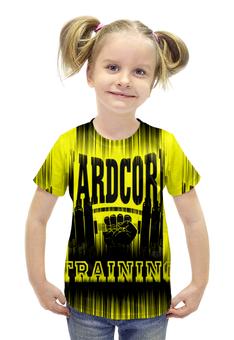 """Футболка с полной запечаткой для девочек """"HARDCORE TRAINING!!!"""" - gym, fitness, сила, спортзал, кач"""