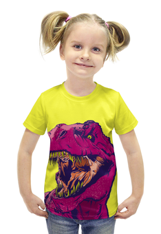 """Футболка с полной запечаткой для девочек """"Тиранозавр"""" - динозавр, тиранозавр, рекс"""
