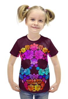 """Футболка с полной запечаткой для девочек """"Skull Art"""" - skull, череп, цветы, черепа, skulls"""