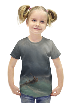 """Футболка с полной запечаткой для девочек """"Картины"""" - море, искусство, художник, айвазовский, буря на море"""