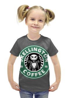 "Футболка с полной запечаткой для девочек ""Starbucks / Skellington coffee"" - кофе, coffee, starbucks, старбакс, хеловин"