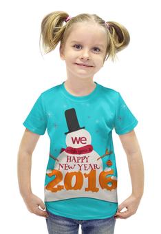 """Футболка с полной запечаткой для девочек """"Happy New Year"""" - праздник, новый год, 2016, события, денис гесс"""