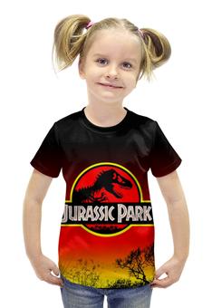 """Футболка с полной запечаткой для девочек """"Парк Юрского Периода"""" - динозавры, ужасы, парк юрского периода, jurassic park"""