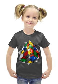 """Футболка с полной запечаткой для девочек """"Кубик Рубика"""" - головоломка, 3д"""