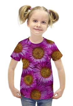 """Футболка с полной запечаткой для девочек """"Астры"""" - цветы, желтые, розовые, астры, сердцевина"""