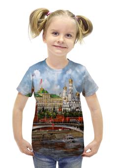 """Футболка с полной запечаткой для девочек """"Москва.Кремль"""" - москва, россия, кремль"""