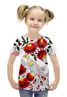 """Футболка с полной запечаткой для девочек """"птица жар-птица"""" - авторские майки, цветок, птица, россия"""