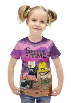 """Футболка с полной запечаткой для девочек """"Время Приключений (Adventure Time)"""" - adventure time, время приключений, finn and jake, финн и джейк, suffer"""