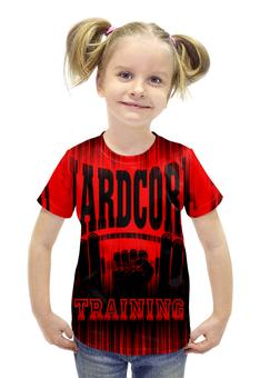 """Футболка с полной запечаткой для девочек """"HARDCORE TRAINING!!!"""" - gym, hardcore, сила, кроссфит, кач"""