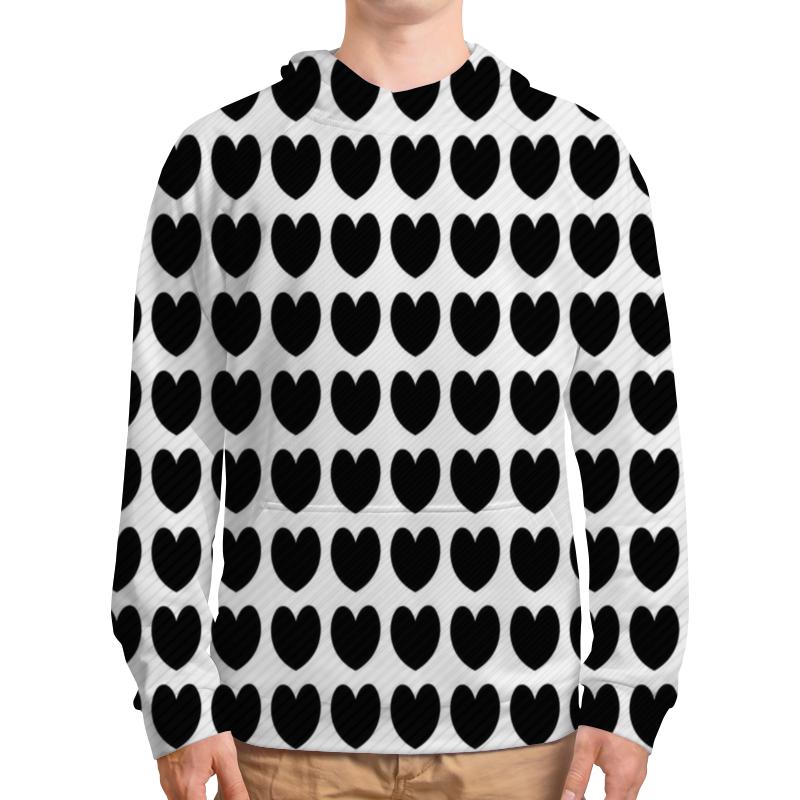 Толстовка  полной запечаткой Printio Черные сердечки