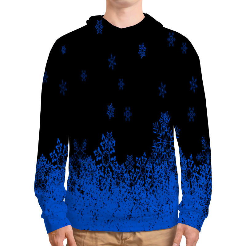 Толстовка с полной запечаткой Printio Синие снежинки леггинсы printio синие снежинки