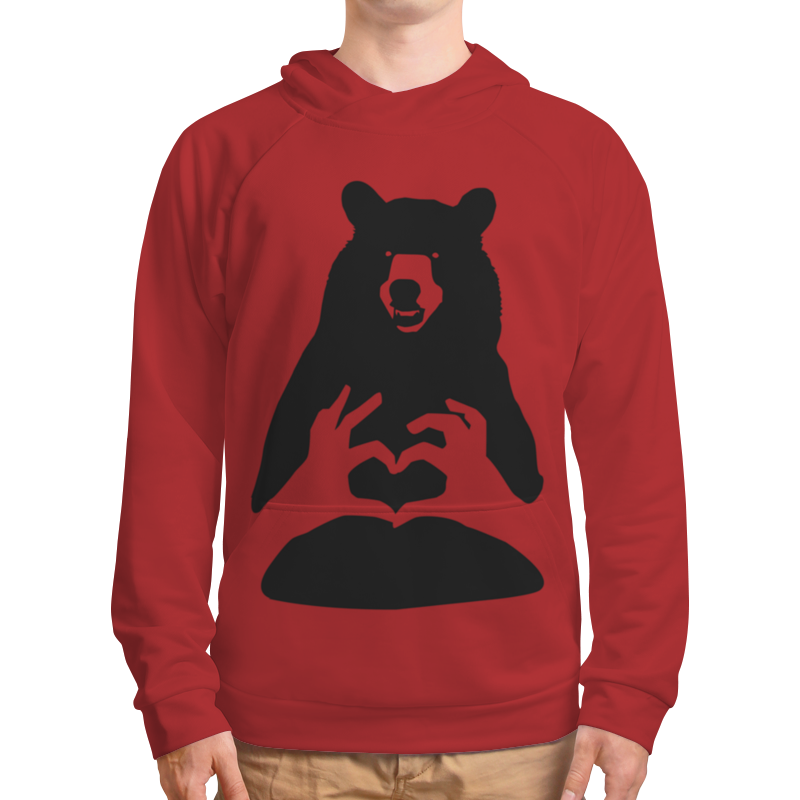 Толстовка с полной запечаткой Printio Bear - one love - blood red