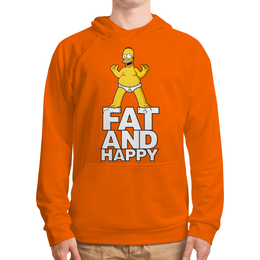 """Толстовка с полной запечаткой (Мужская) """"Гомер Симпсон. Толстый и счастливый"""" - simpsons, прикольные, гомер симпсон, симпспоны, толстый и счастливый"""