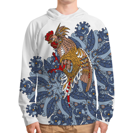"""Толстовка с полной запечаткой """"петушиное разноцветие"""" - узор, птица, символ года, злой, петух"""