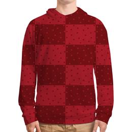 """Толстовка с полной запечаткой """"Красный геометрический узор"""" - красный, тон, горох, прямоугольник, оттенок"""