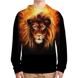 """Толстовка с полной запечаткой """"Огненный лев"""" - лев, огонь, животное"""