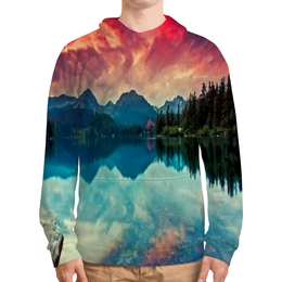 """Толстовка с полной запечаткой """"Природа"""" - природа, горы, вода, река, озеро"""