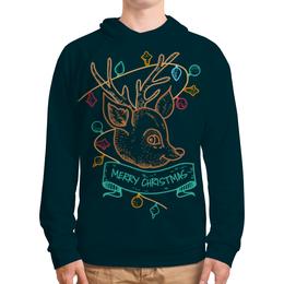 """Толстовка с полной запечаткой """"Новогодний олененок"""" - подарок, олень, deer, merry christmas"""