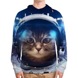 """Толстовка с полной запечаткой (Мужская) """"Котосмонавт"""" - кот, космос, животное, костюм"""