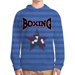 """Толстовка с полной запечаткой (Мужская) """"Боксер"""" - звезда, надпись, полоска, синий, боксер"""