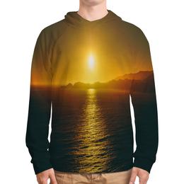 """Толстовка с полной запечаткой """"Закат над морем"""" - пейзаж, природа, море, горы, закат"""