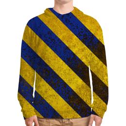 """Толстовка с полной запечаткой (Мужская) """"Полосы 6"""" - жёлтый, полосы, синий"""