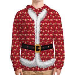 """Толстовка с полной запечаткой (Мужская) """"Костюм Деда Мороза"""" - новый год, дед мороз, санта клаус, нг, олени"""