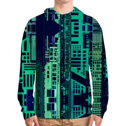 """Толстовка с полной запечаткой (Мужская) """"""""Город будущего"""" """" - зеленый, синий, киберпанк, небоскребы, мегаполис"""