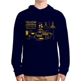 """Толстовка с полной запечаткой """"Yellow Submarine"""" - the beatles, yellow submarine, чертёж, жёлтая подводная лодка, жёлтая субмаритна"""