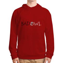 """Толстовка с полной запечаткой """"BAD OWL - Blood Red"""" - красная толстовка, красная толстовка с капюшоном"""