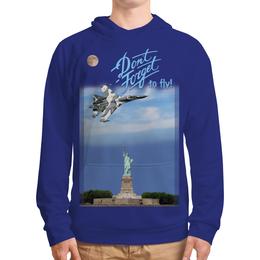 """Толстовка с полной запечаткой """"Истребитель Су-57 над Статуей Свободы"""" - мотивация, ввс, истребитель, to fly, 23фев"""