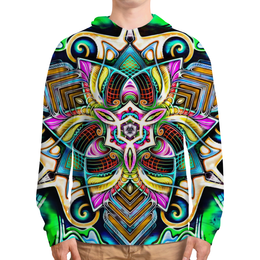 "Толстовка с полной запечаткой ""Mandala HD 4"" - узор, ретро, классика, этно, симметрия"