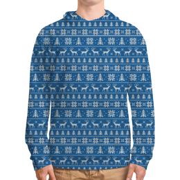"""Толстовка с полной запечаткой (Мужская) """"Зимний мотив #1"""" - новый год, зима, снежинки, елки, олени"""