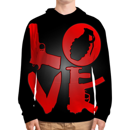 """Толстовка с полной запечаткой """"Love - 1"""" - любовь, автомат, guns, gangster, день рождения"""