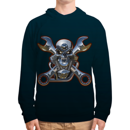 "Толстовка с полной запечаткой (Мужская) ""Metal Skull"" - череп, heavy metal, байкер, хардкор, biker skull"