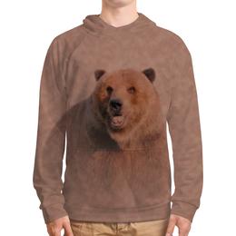 """Толстовка с полной запечаткой (Мужская) """"Медведь"""" - медведь, рисунок, животное, коричневый, бурый"""