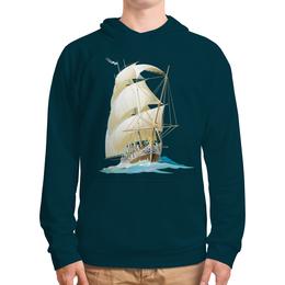 """Толстовка с полной запечаткой (Мужская) """"Парусник"""" - море, волны, корабль, ветер, парусник"""