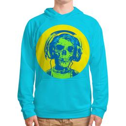 "Толстовка с полной запечаткой ""I love music (череп в наушниках)"" - skull, череп, пластинка, наушкини, love music"