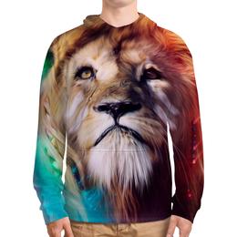 """Толстовка с полной запечаткой (Мужская) """"Царь зверей"""" - лев, краски, царь зверей, грива"""
