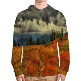 """Толстовка с полной запечаткой """"Горная тропа"""" - лес, деревья, природа, горы, туман"""