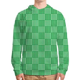 """Толстовка с полной запечаткой (Мужская) """"Горох и линия"""" - полоска, зеленый, квадрат, линия, горох"""